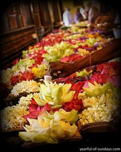 Flower offerings at The Sacred Tooth Temple, Kandy