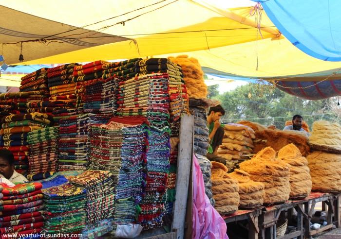 A canopied market outside Jama Masjid