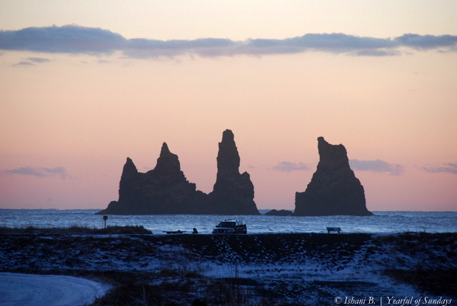 Day 2 - Reynisdranagar, view of the troll sea stacks from the town of Vik